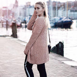 Solid Color Long Sleeve Open Front Chunky Cardigan Sweater