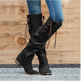 Vintage Chunky Heels Luce-up Knee High Boots