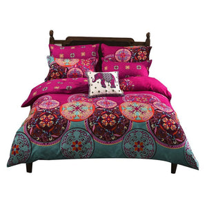 Bohemian Ethnic Style Elephant Print 4-Piece Polyester Duvet Cover Sets