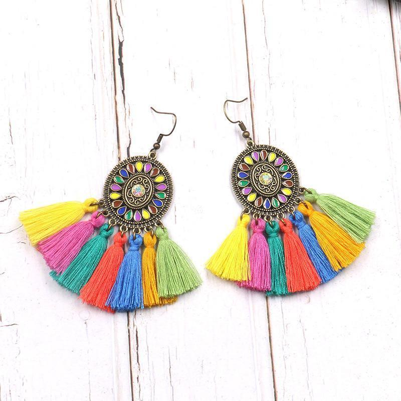 Vintage Colorful Tassel Dream Catcher Earrings Jewelry