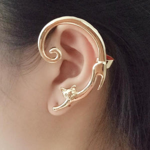 Unique Single Punk Style Gold Silver Plated Cat Earring Ear Cuff