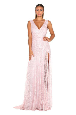V Neck Sleeveless Side Split Evening Party Maxi Dress