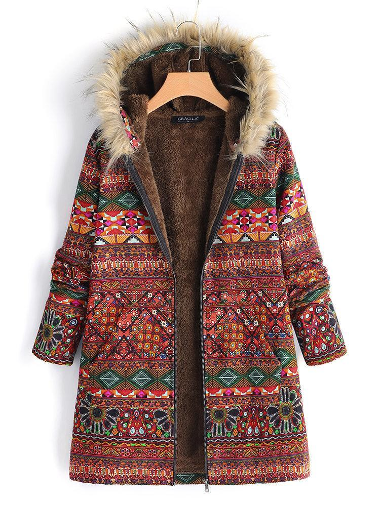 Vintage Boho Floral Printed Long Sleeves Hoodie Quilted Coat