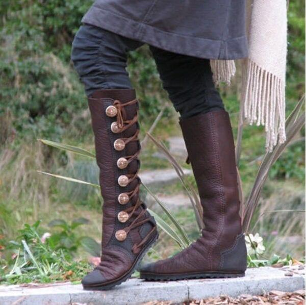 Winter Knee-high Plus Size Metal Button Martin Boots