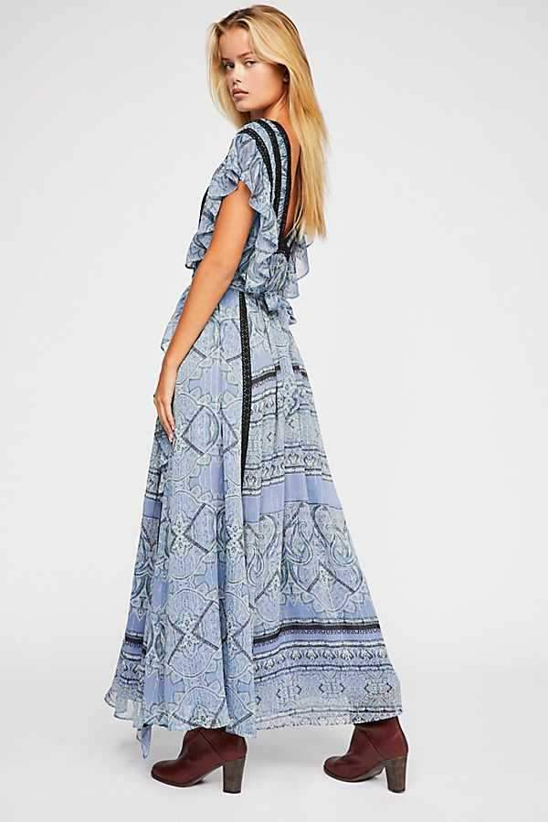 Vacation Bohemian Ruffled Lace V-Neck Chiffon Floral Long Dress