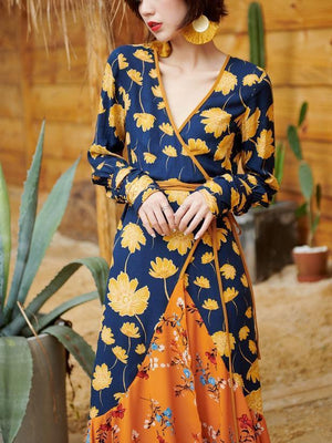 V-Neck Print Slim Fit Bohemian Long Dress