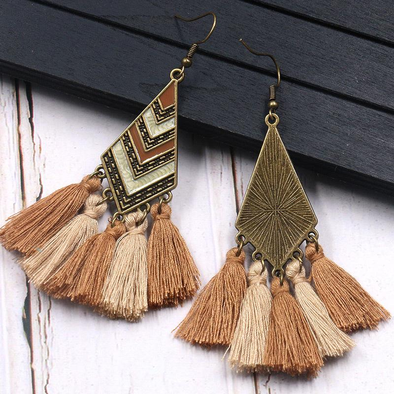 Handmade Vintage Bohemian Tassel Fringed Dangle Earrings Jewelry