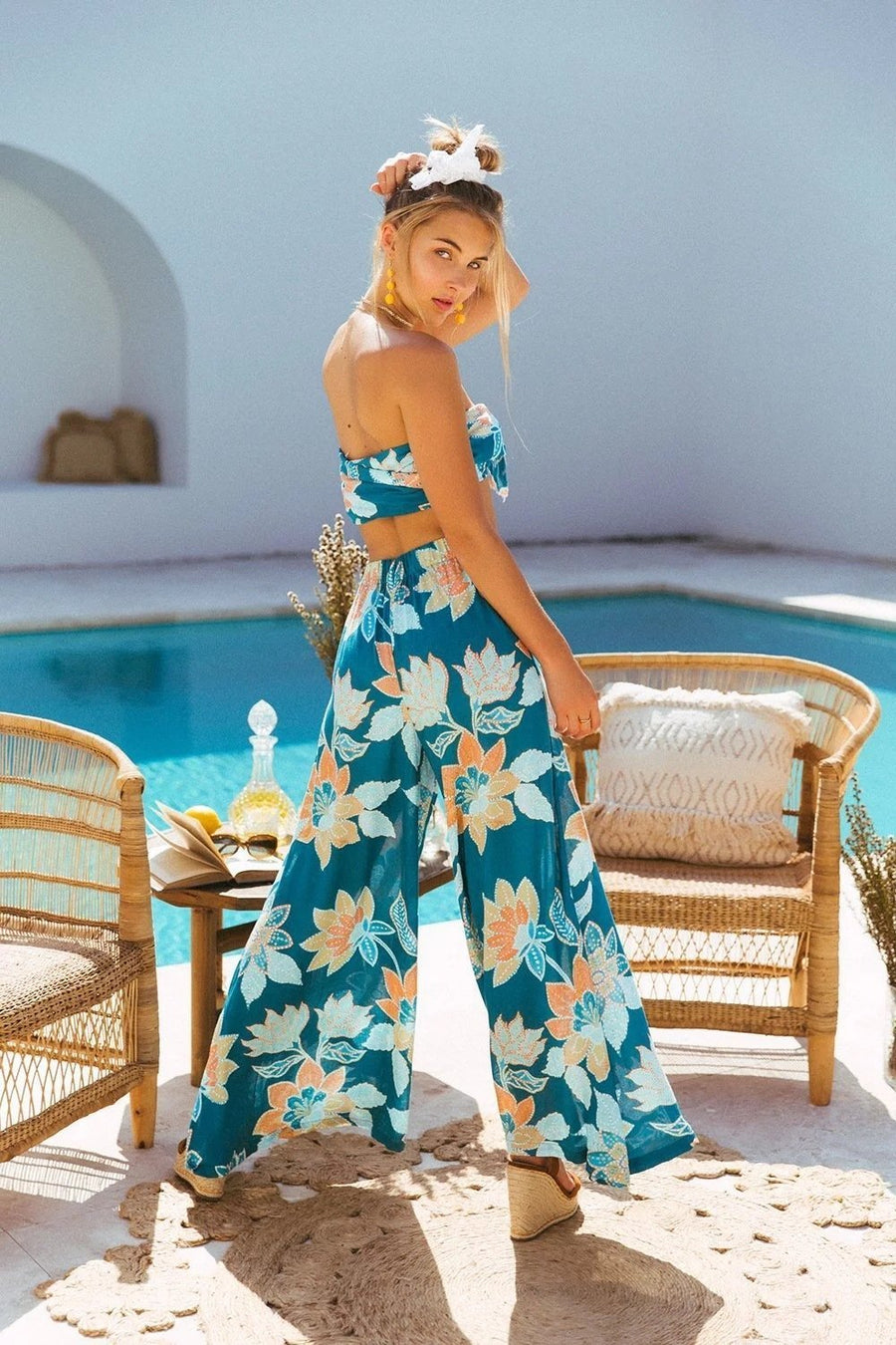 Bohemian Print Tube Top Straps Wide Leg Jumpsuit Suit