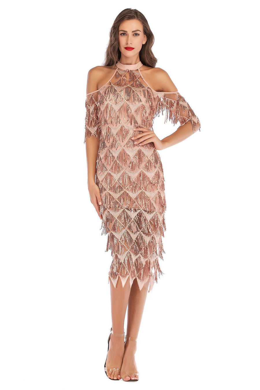 Sexy slim sequined tassel dress
