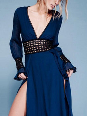 V-Neck Short Sexy Evening Dress Banquet Navy Dress
