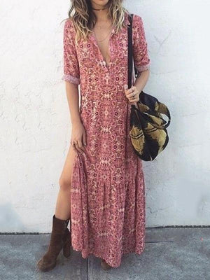 V-Neck Sexy Floral Mid-Sleeve Long Dress