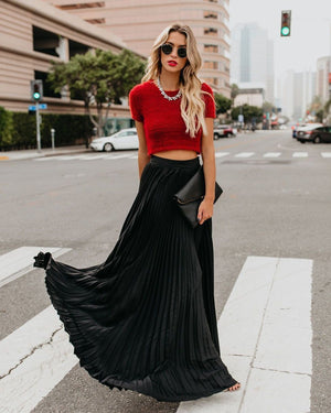 Solid Color High Waist Pleated Long Maxi Skirt