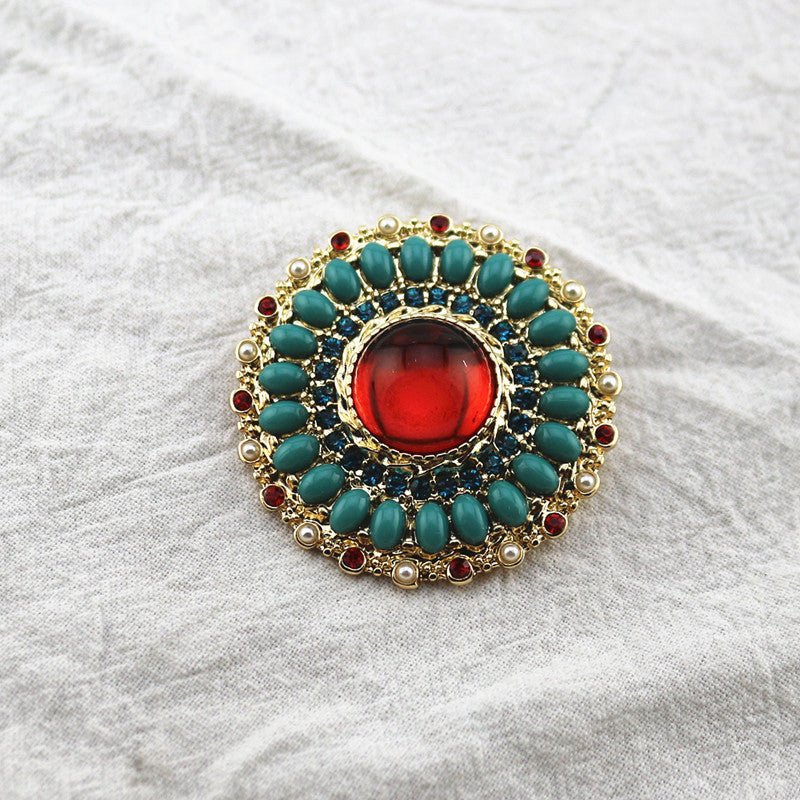 Antique vintage retro brooch red sapphire earrings ear clip sweater chain