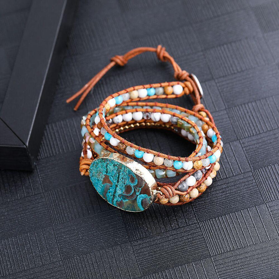 Bohemian Handmade Natural Stones Leather Wrap 5 Layer Bracelet - Voguetide