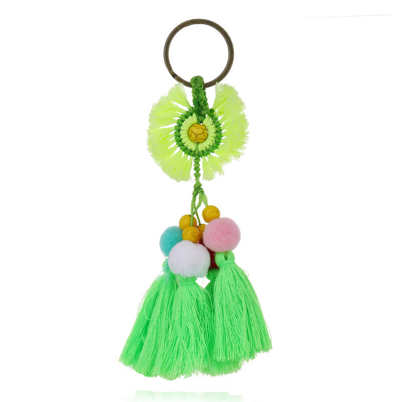 Hair ball boho colorful tassel handmade keychain