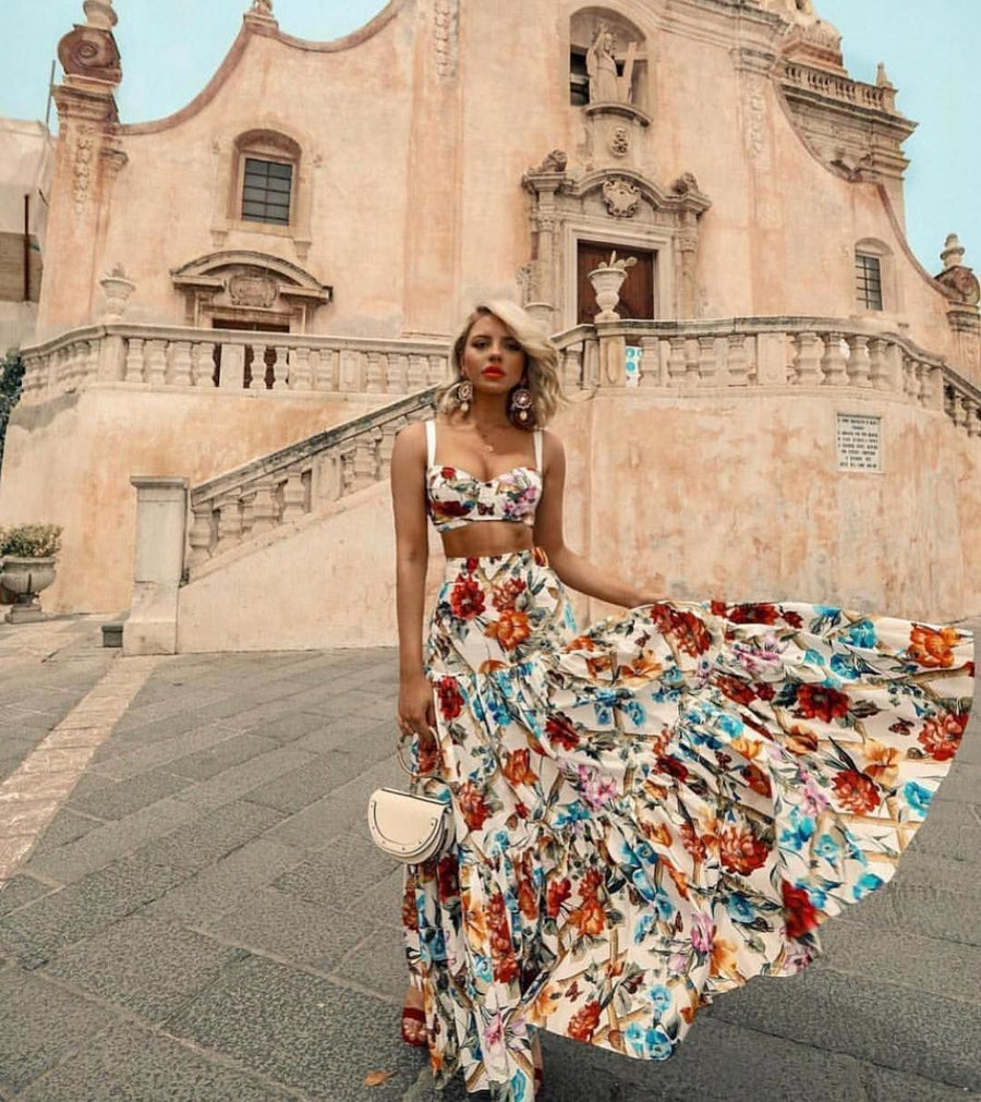 Sexy Off Shoulder Midriff-Baring Floral Printed Top Skirt Set Suit