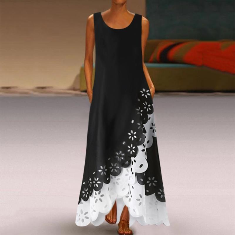 Casual Hollow Out Round Neck Irregular Sleeveless Splicing Maxi Dress