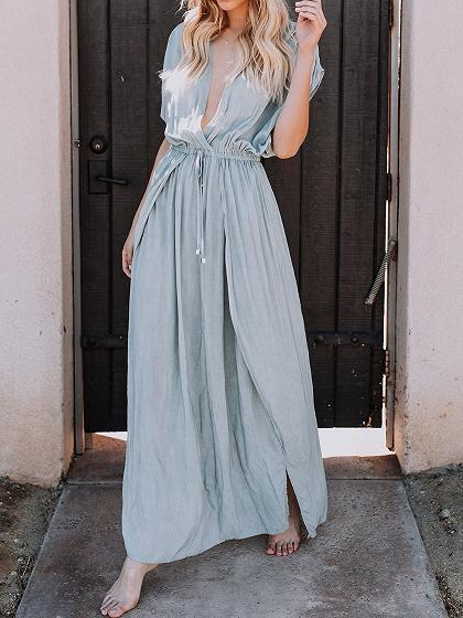 Solid Color Drawstring Waist Thigh Split Front Chic Women Maxi Dress