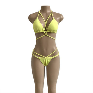 Strap knit button back bikini swimsuit with 14 colors
