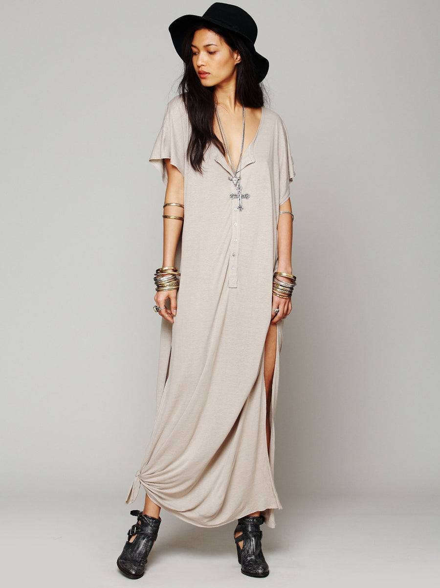 Solid Color Short Sleeve Button Side Split Loose Casual Maxi Dress