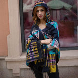Autumn And Winter Vintage Bohemian National Style Imitation Wool Thickening Warm Hooded Cloak Shawl