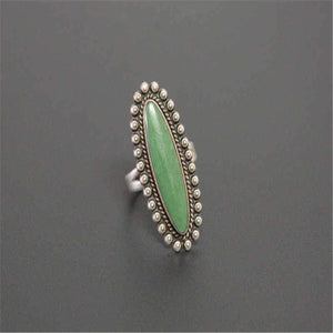 Vintage Bohemia Large Green Stone Party Ring