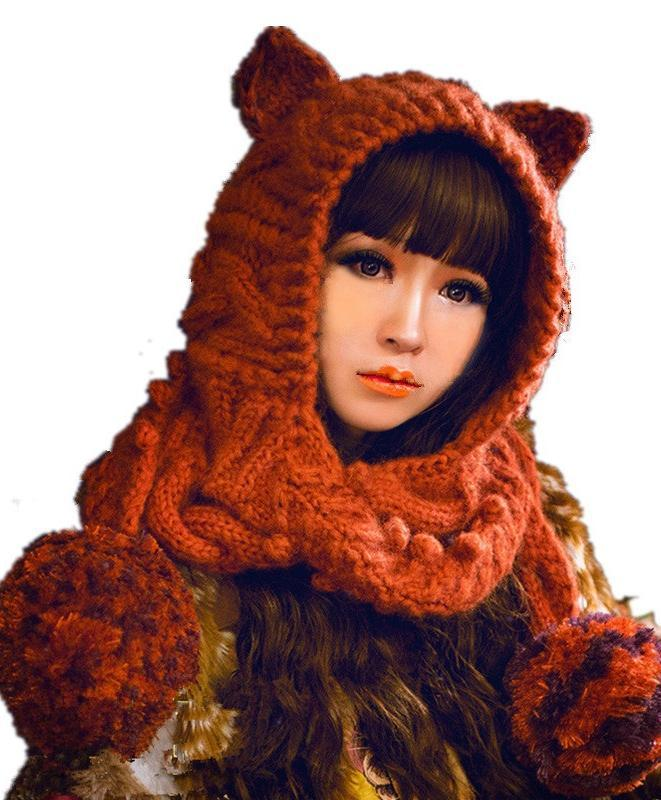 Winter Warm Handmade Knit Cute Cat Ears Hat With Scarf And Gloves Suit