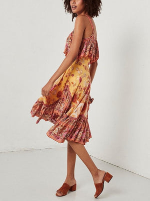 Spaghetti Strips Ruffles Floral Summer Dress Boho Midi Dress