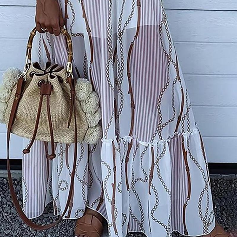 Casual Chain Print Tassel Spaghetti Strap V-neck Maxi Dress