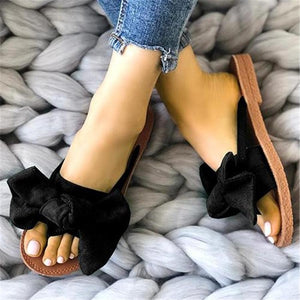 Casual Bow-Toe Flat-Bottomed Slippers