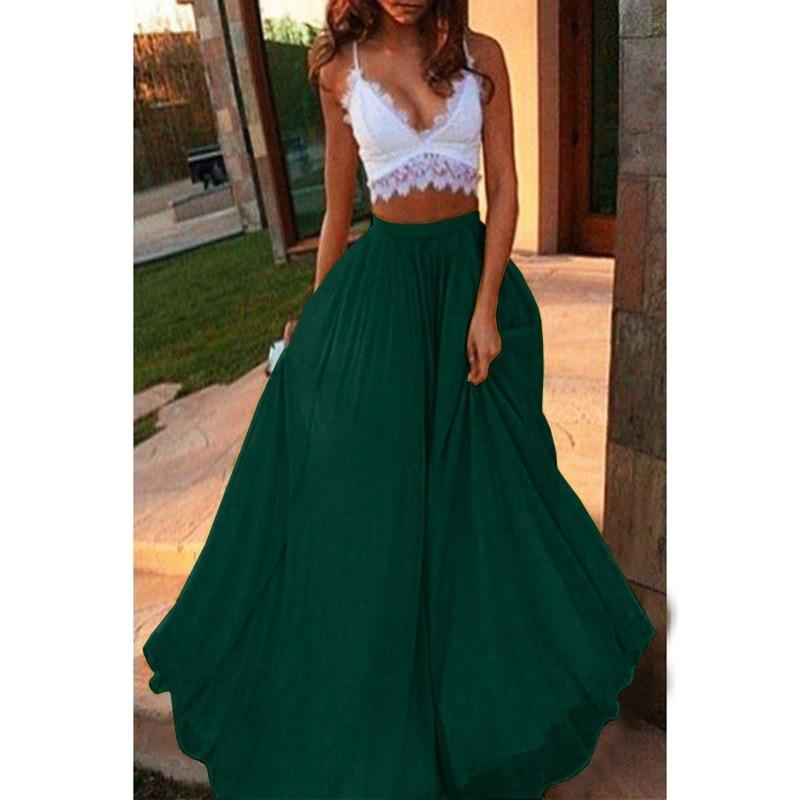 Elegant Boho Solid Color Beach Comfortable Long Skirts