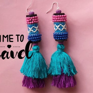 Travel bohemian ethnic wind ball Thai Indian Tassel earrings