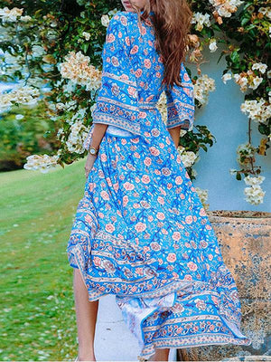 Boho Floral Print  Deep V Neck Autumn Maxi Dress