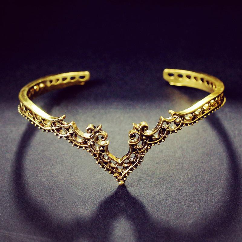 Bohemia Vintage Bangle Heart-Shaped Open Bracelet Accessories
