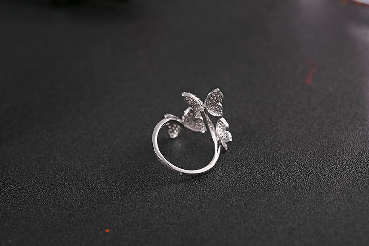 Unique Butterfly Design Crystal Cocktail Open Rings