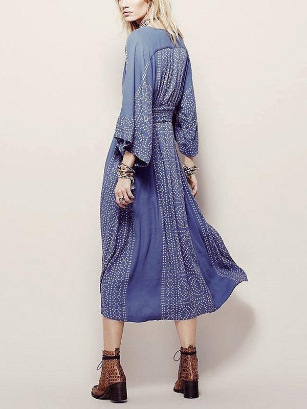 Solid Color Flare Sleeve Long Dresses Vintage Elegant Casual Dress