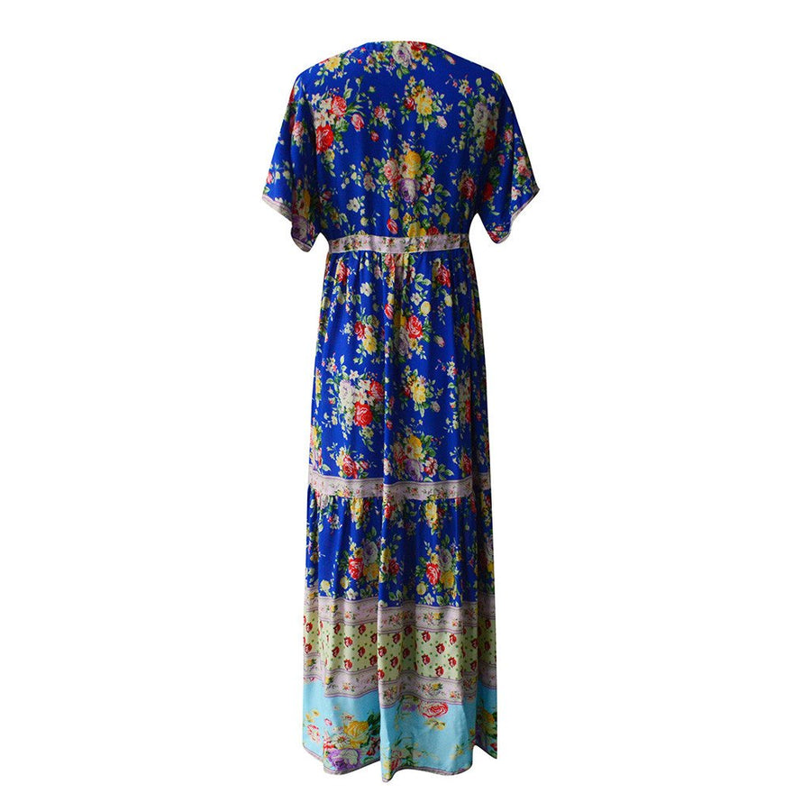 Bohemian Loose Printed Waist V-Collar Chiffon Beach Vacation Maxi Dresses