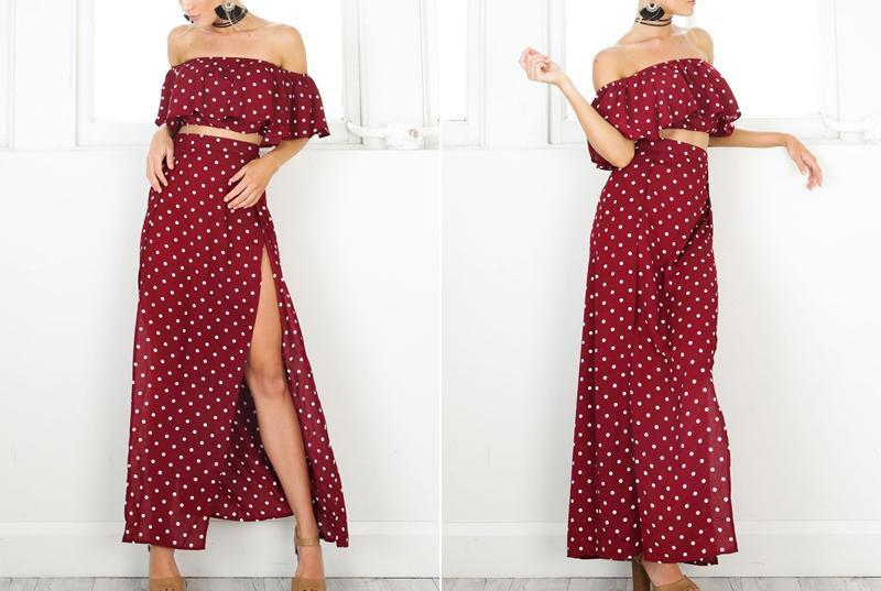Vintage Dot Off Shoulder Red Split Dress