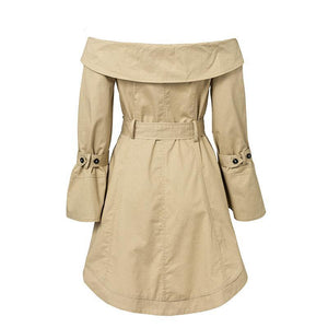 Solid Color Sexy Off Shoulder Belt Trench Coat