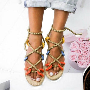 Colorful Hemp Rope Lace Up Gladiator Summer Flat Shoes Sandals