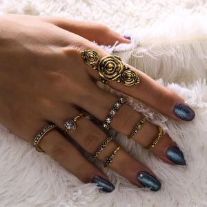 Bohemia Vintage Jewelry Carving Tibetan Gold Color 8PCS Set Punk Boho Ring Sets - Voguetide