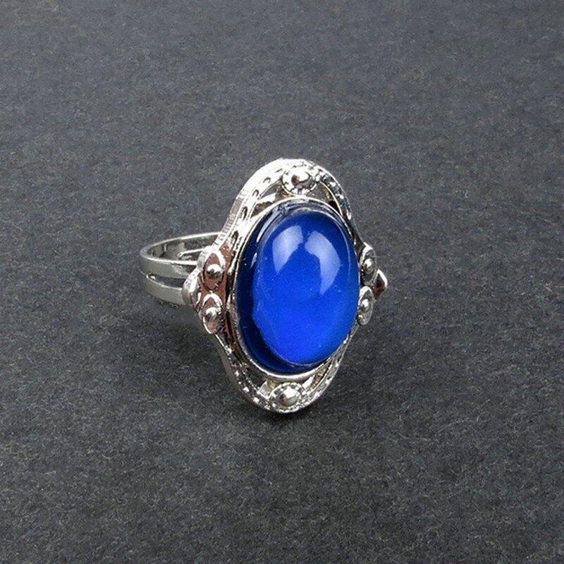 Vintage Sliver Oval Magic Control Mood Temperature Changing Color Rings