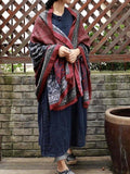 Vintage Pattern Comfortable Cotton Ethnic Style Big Scarf Shawl