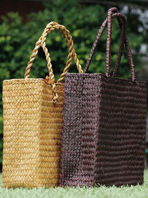 Creative Handbag Rattan Tote Bag New Straw Bag Weave Grass Bag Rattan Bag - Voguetide