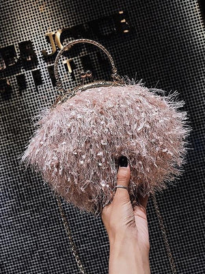 Plush Clip Shell Bag Tassel One Shoulder Diagonal Handbag Purse for Party Wedding Evening Party