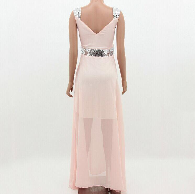 Sweet Heart Sequin Pleated Bodice Chiffon Evening Dress