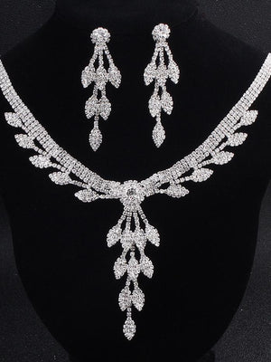 Party Accessories Rhinestone Necklace Earring Set Two Piece Set
