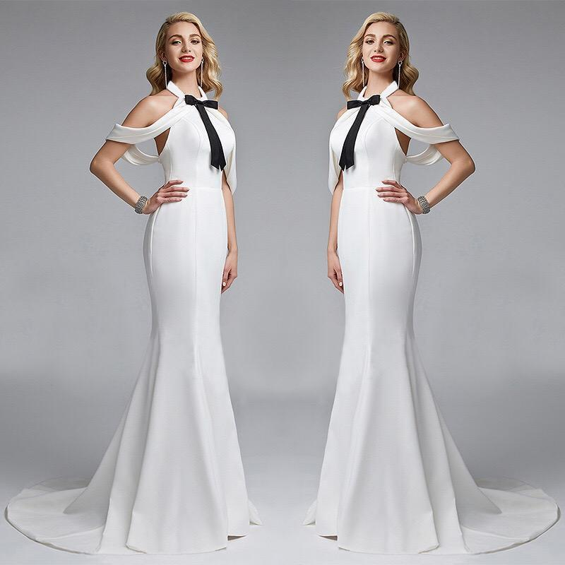White Contrast Bow Backless Sexy Evening Maxi Dress