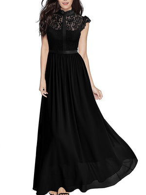 Three Solid Colors Lace Chiffon Maxi Dress Evening Party Dress