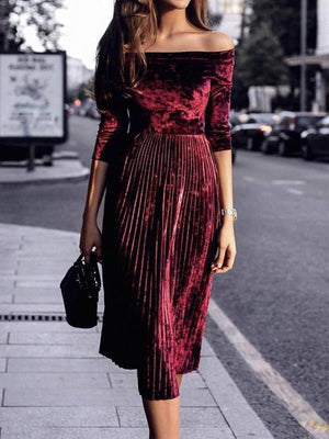 Solid Color Autumn and Winter Velvet Waist Pleated Dress